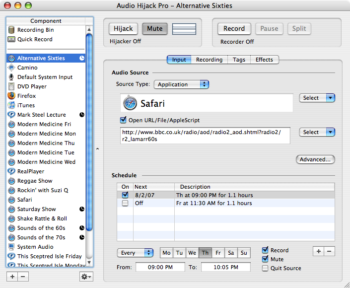 Python appscript for Audio Hijack - All this