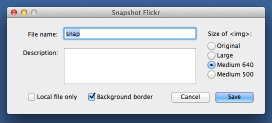 SnapFlickr options