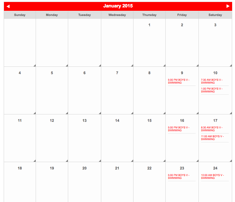 School swimming calendar