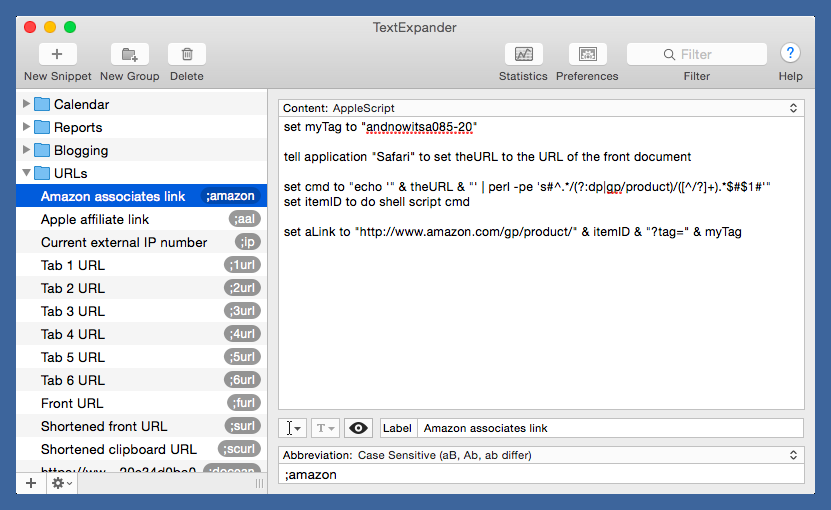 TextExpander Amazon links with AppleScript