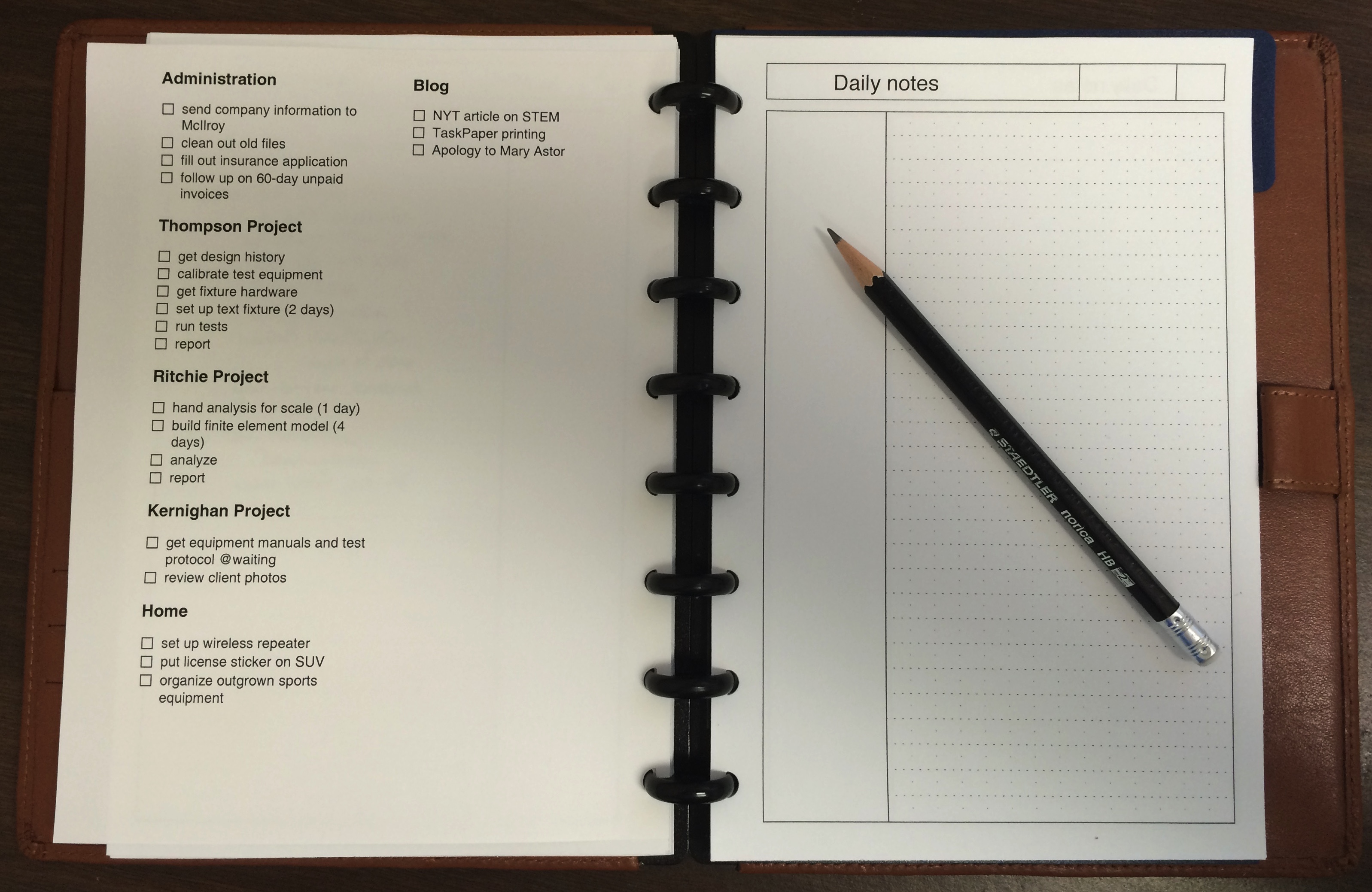 Daily planner with TaskPaper list