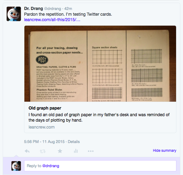 Twitter Card in summary view on web