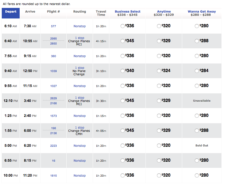Southwest flight schedule