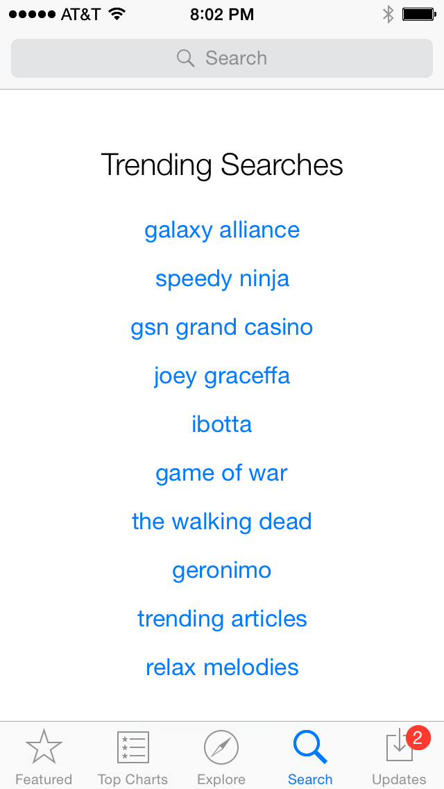 App Store search screen