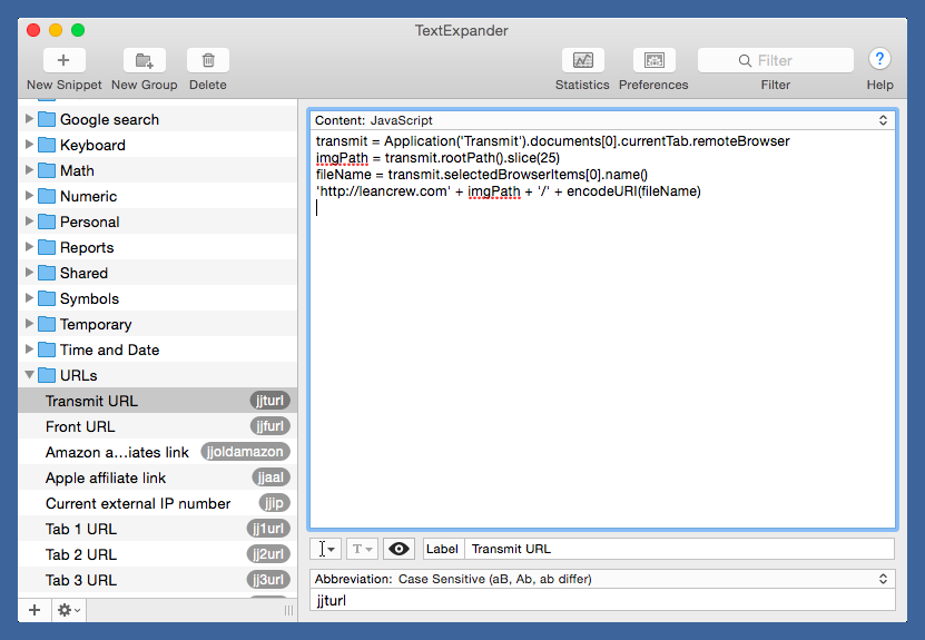 TextExpander snippet for selected Transmit item
