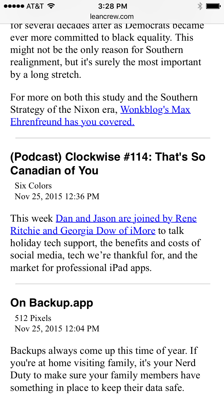 Today's RSS on iPhone