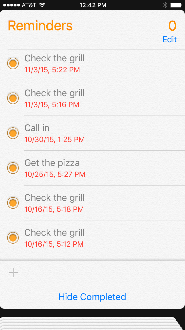 Completed reminders
