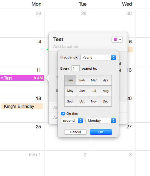 Calendar recurrence