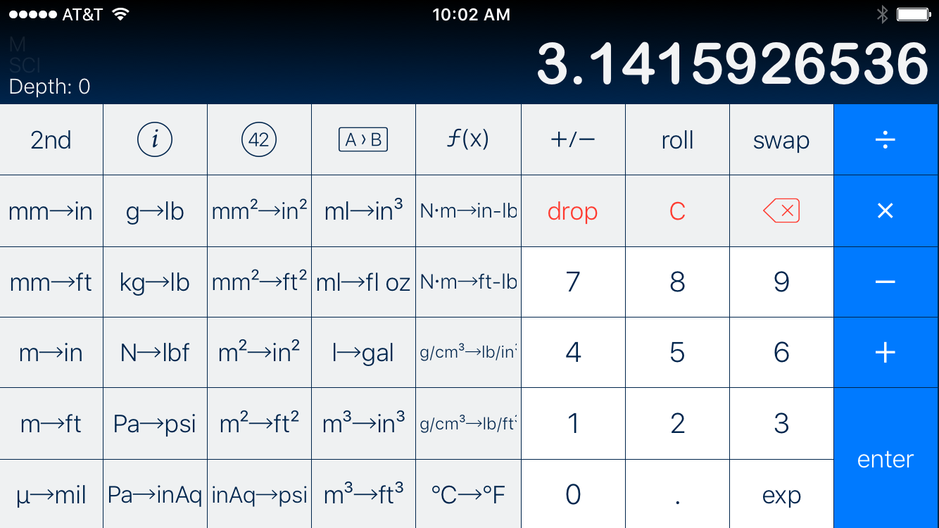 PCalc Conversions layout