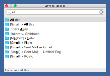 MailMate folder selection