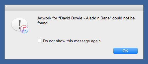 iTunes artwork error message