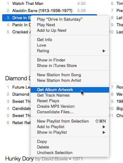 iTunes right-click menu