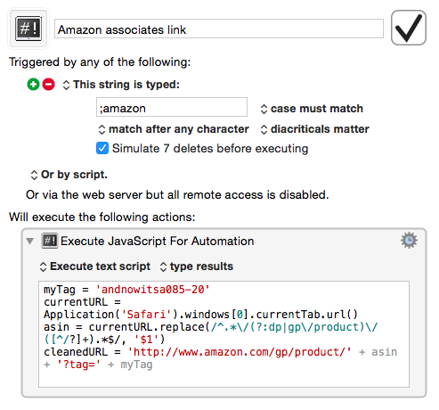 Amazon Associates Keyboard Maestro macro