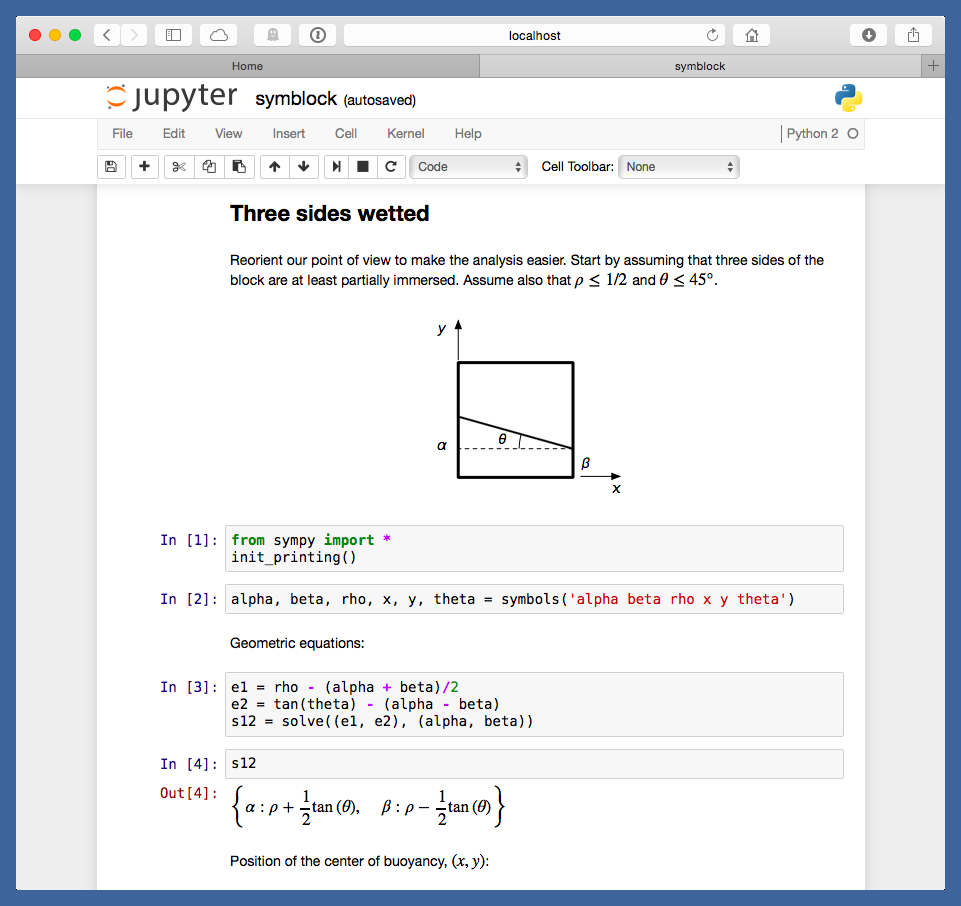 Jupyter notebook for floating block