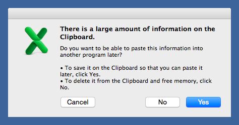 Excel clipboard warning
