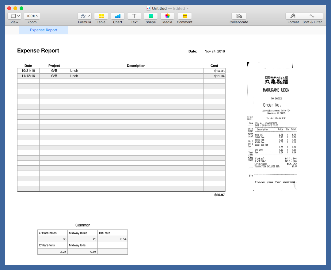 Expense report after importing receipts