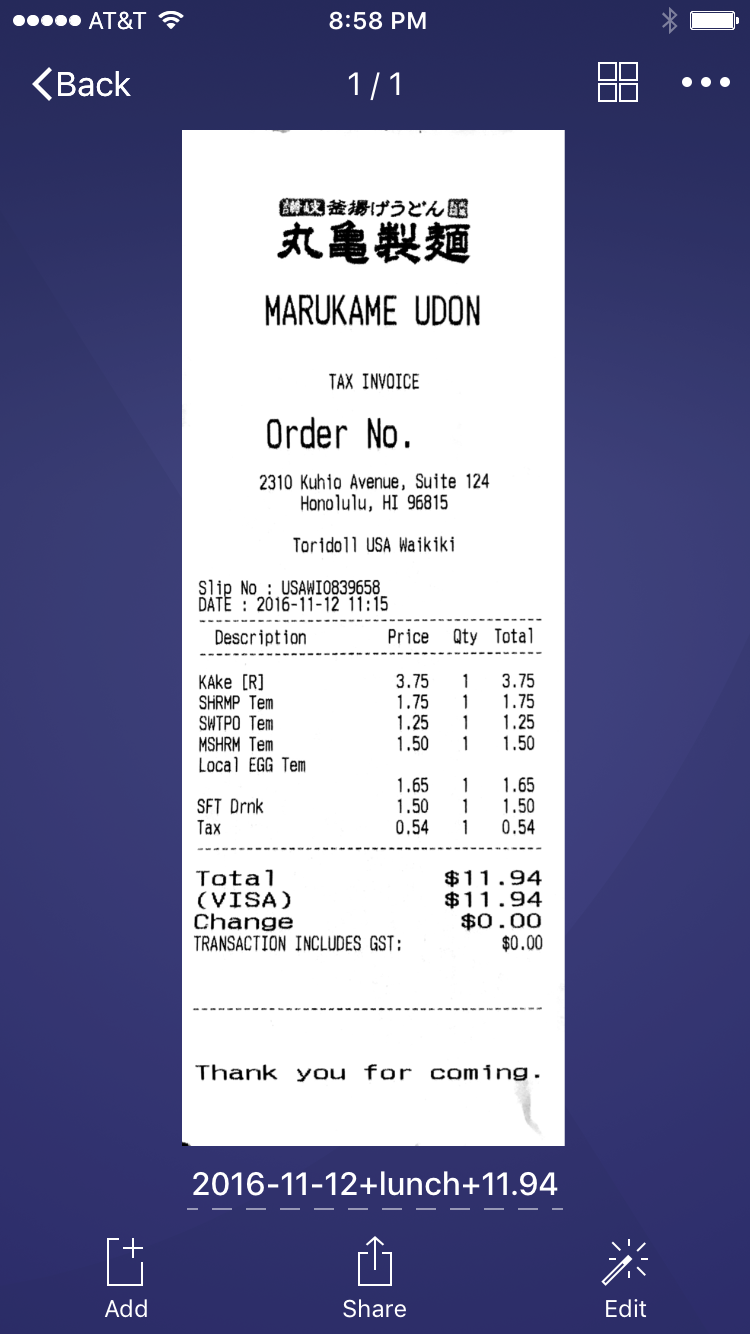 Receipt with name in Scanner Pro