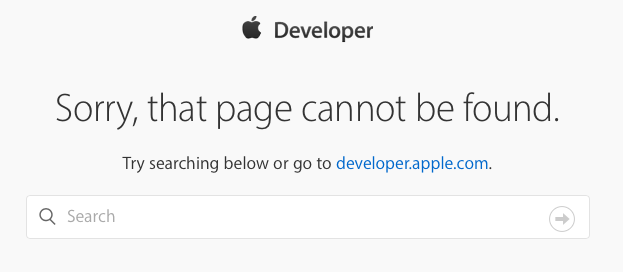 Apple Developer error page