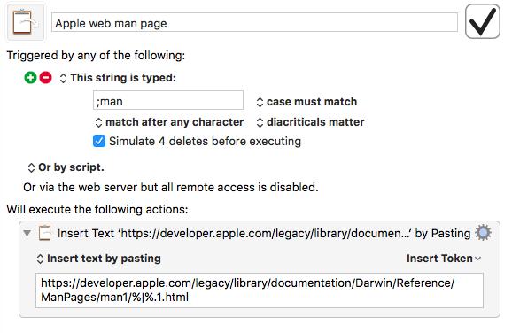 Keyboard Maestro man page macro