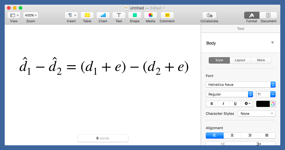 Pages equation display