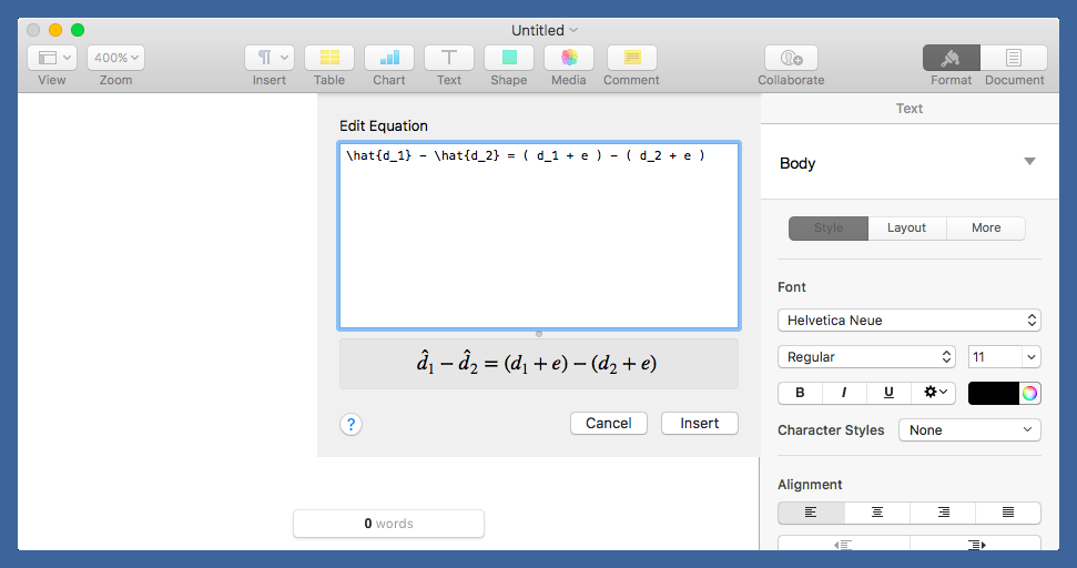 Pages equation entry