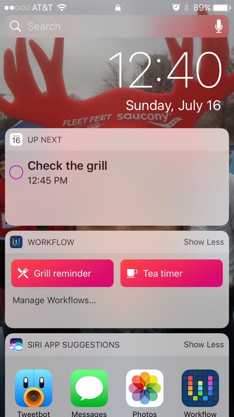 Reminder workflows in Today view