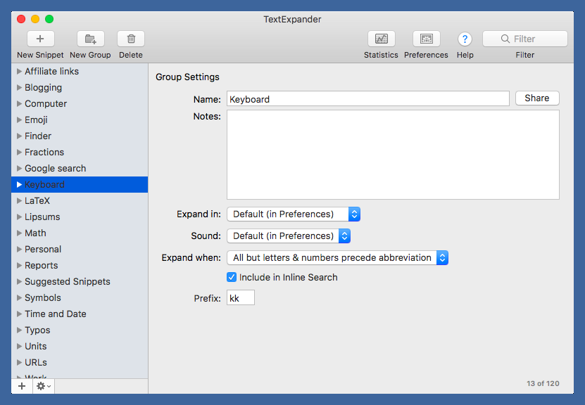 TextExpander group settings