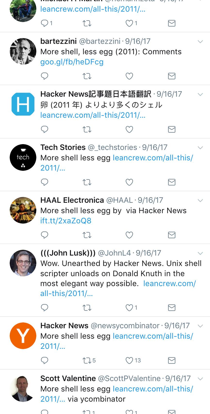 Tweets via Hacker News