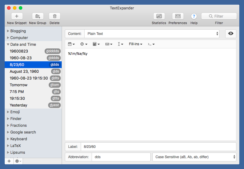 TextExpander date and time snippets