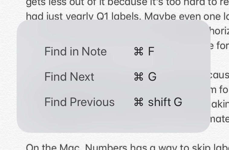 Keyboard shortcuts in iOS Notes