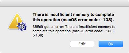 BBEdit error message