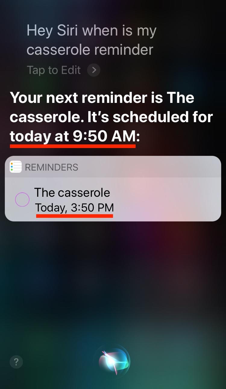 Siri reminder times