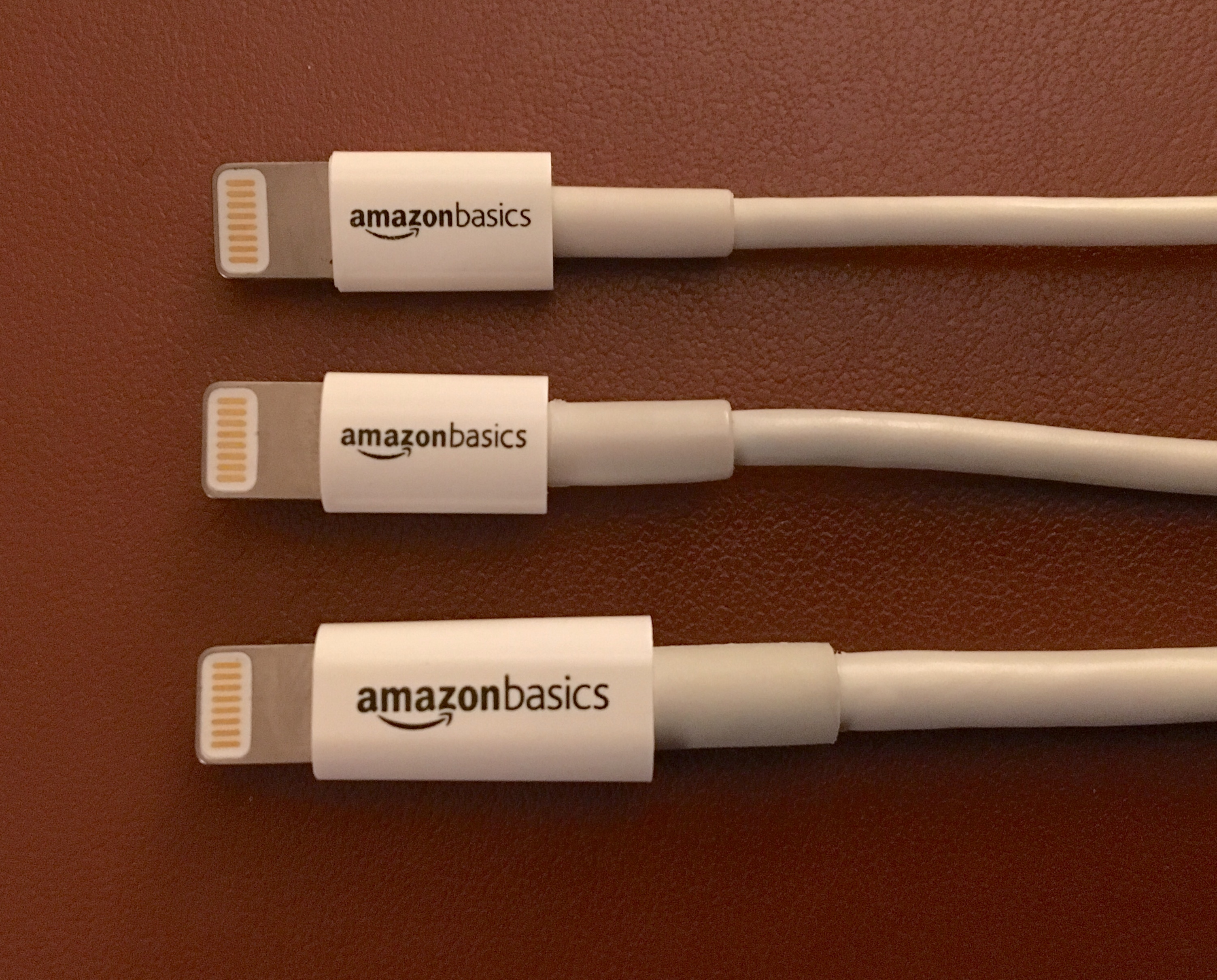Amazon 3-ft, 6-ft, and 10-ft lightning cables