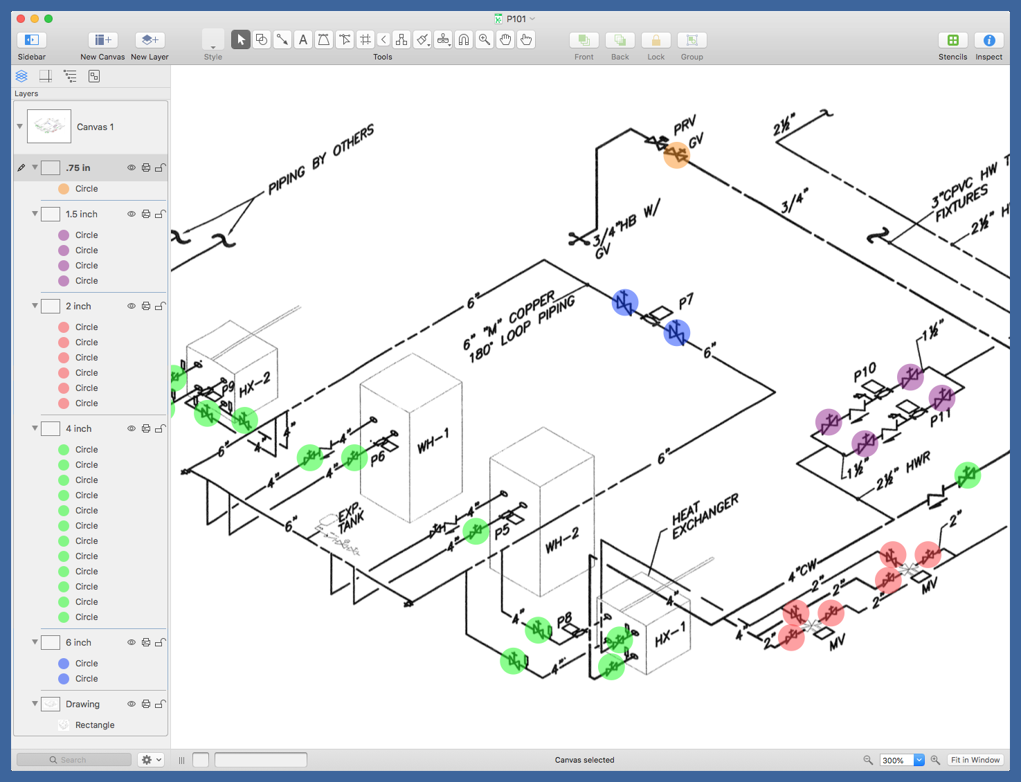 Annotated plumbing drawing