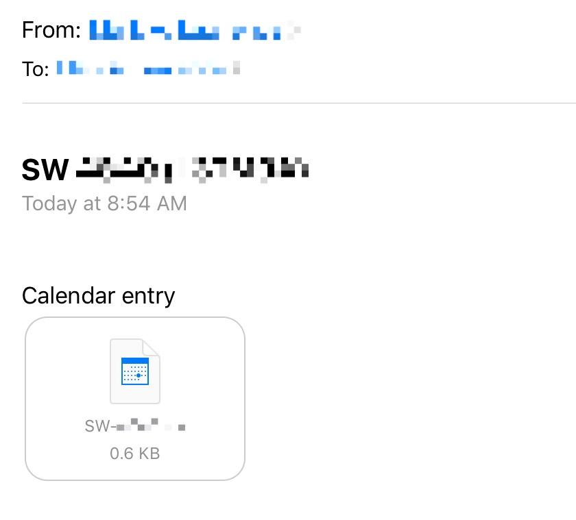 Emailed calendar entry