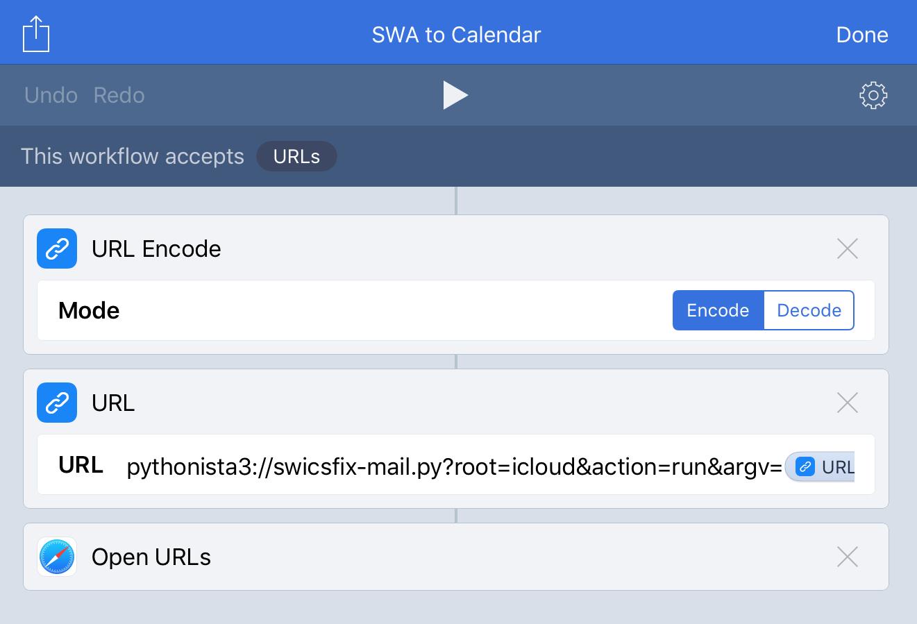 SWA to Calendar workflow