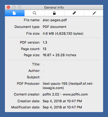 PDF page size after conversion