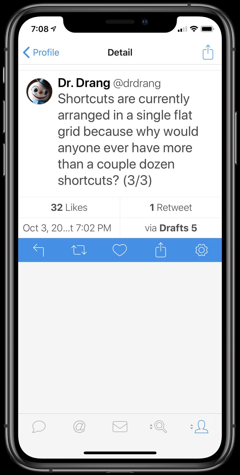Tweetbot view of a tweet