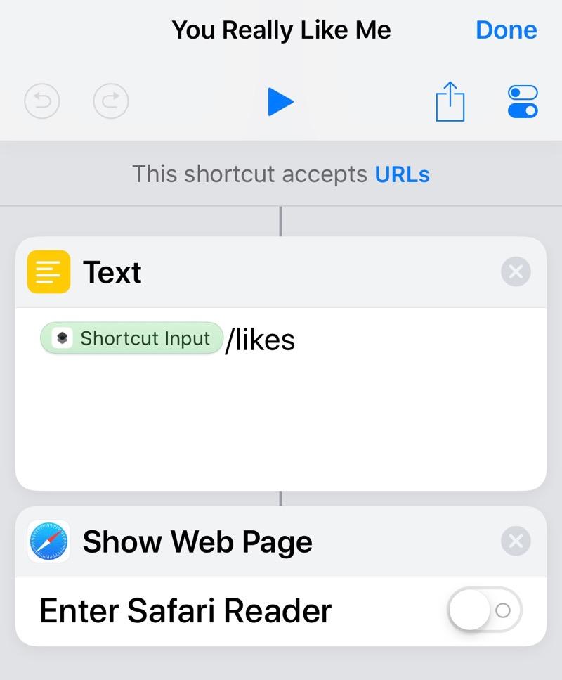 You Really Like Me shortcut steps