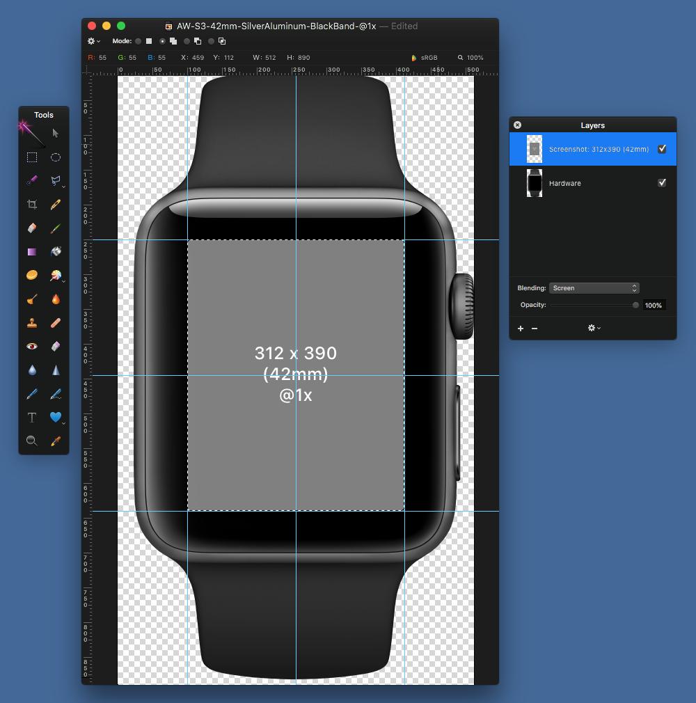Select gray screenshot rectangle