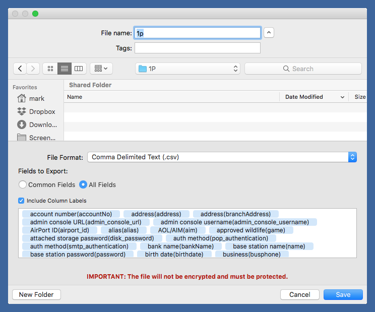 1Password Mac export