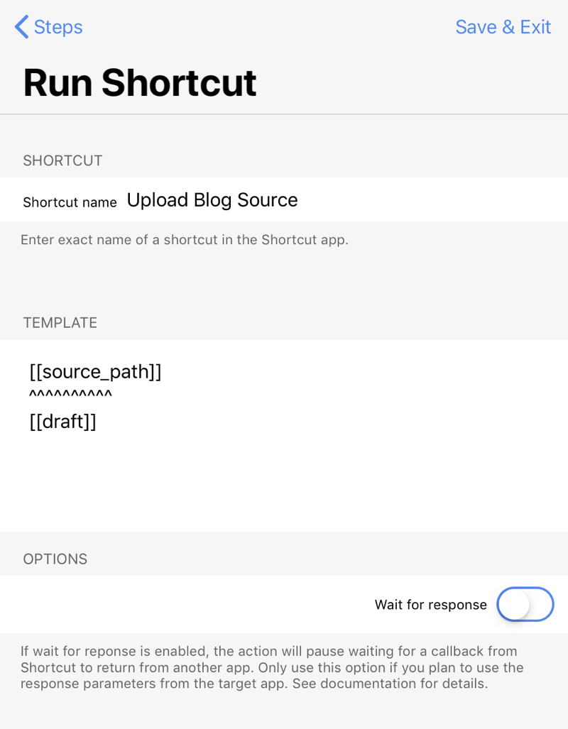 Run Shortcut step for uploading to server