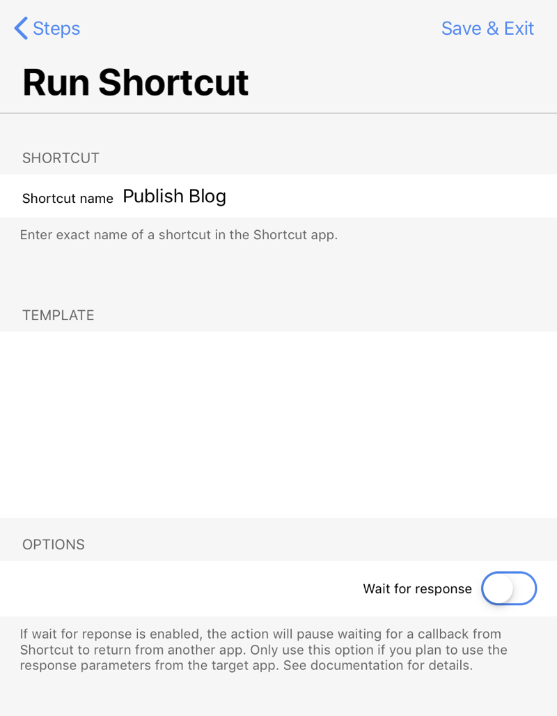 Run Shortcut step from Publish action