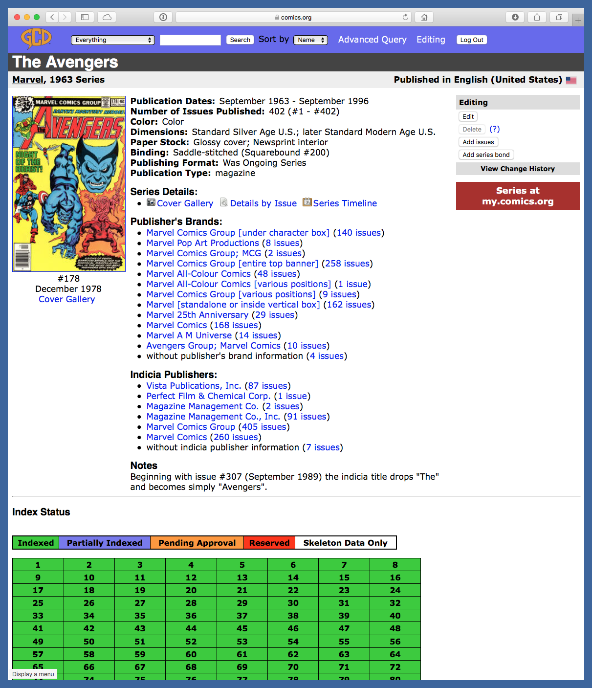 Example of GCD series page