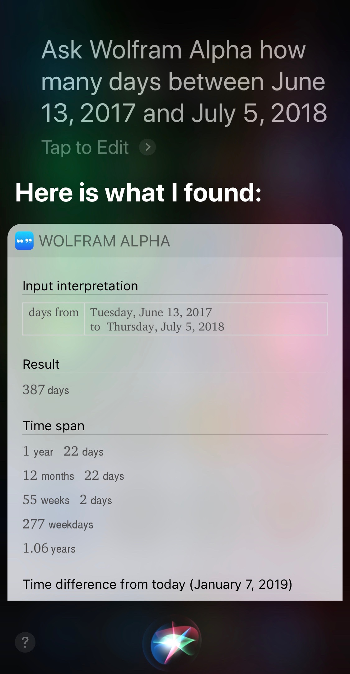 Siri and Alpha days between two given dates