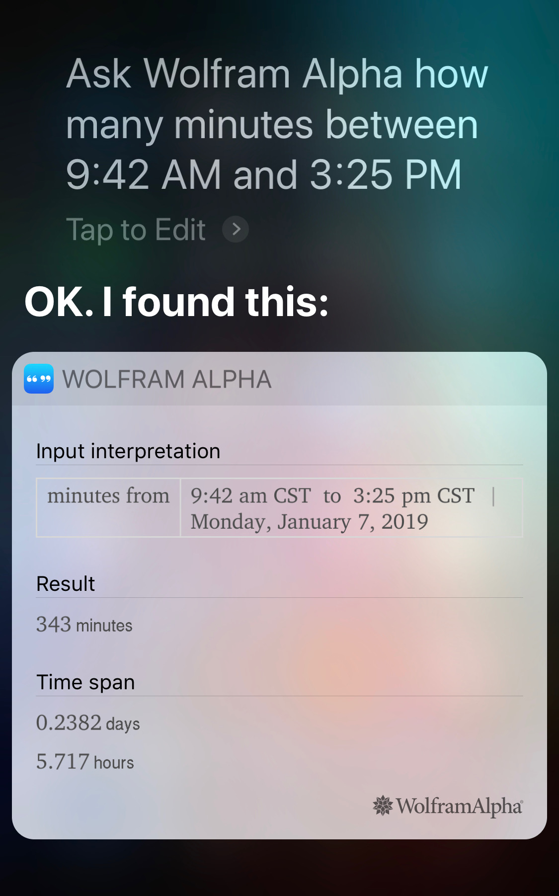 Siri and Alpha minutes between two given times