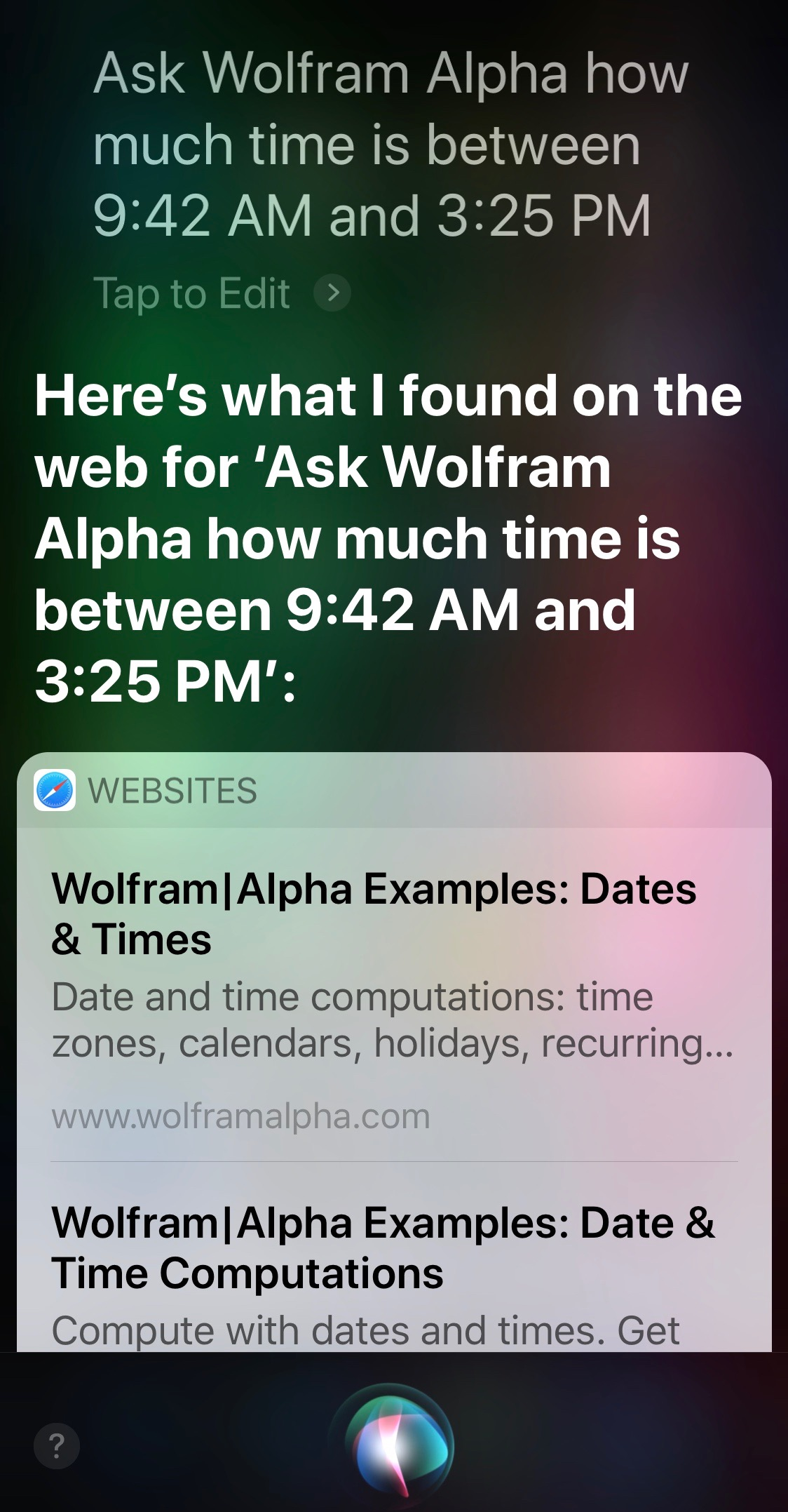 Siri and Alpha time between two given times