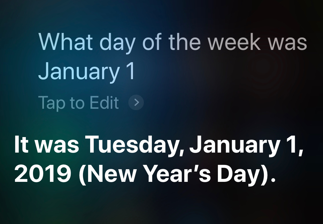 Siri day of week partial Jan 1