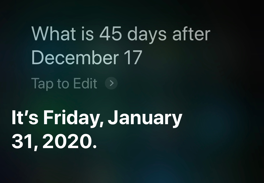 Siri days after Dec 17