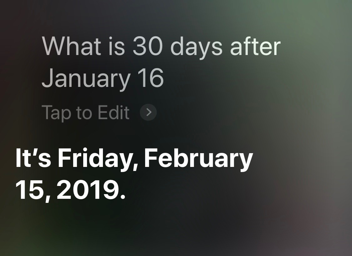 Siri days after given date